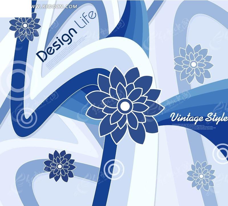 蓝色调重瓣花动感曲线背景素材