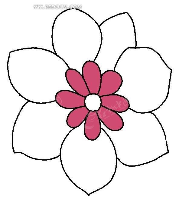 手绘七瓣图案花