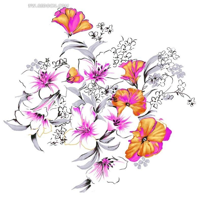 韩国手绘精美花卉图案