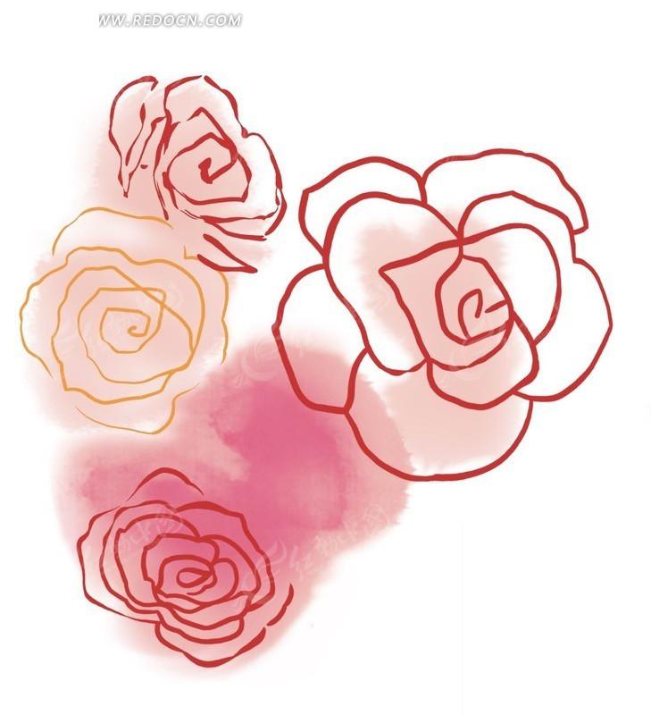 手绘红色调卡通花朵