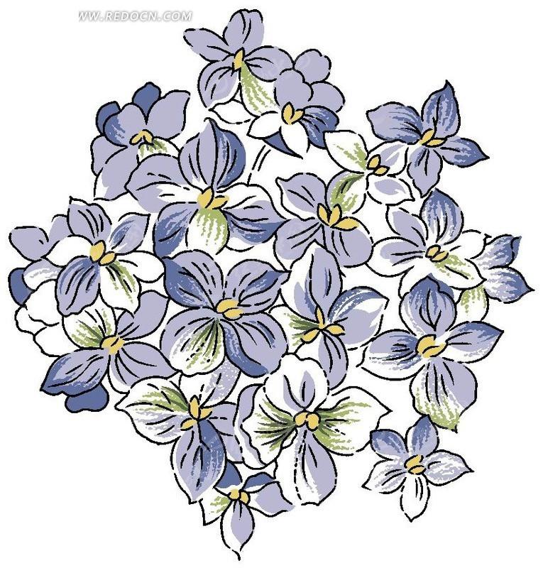 手绘蓝色调绣球花