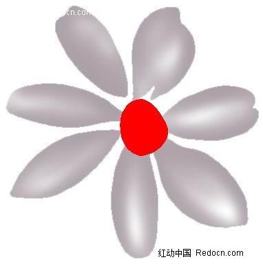 手绘灰色调七瓣花