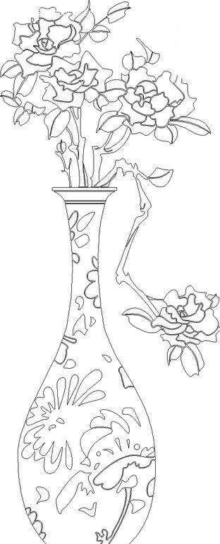 插在精美花瓶里的花朵线描图hpgl素材免费下载 编号1664625 红动网