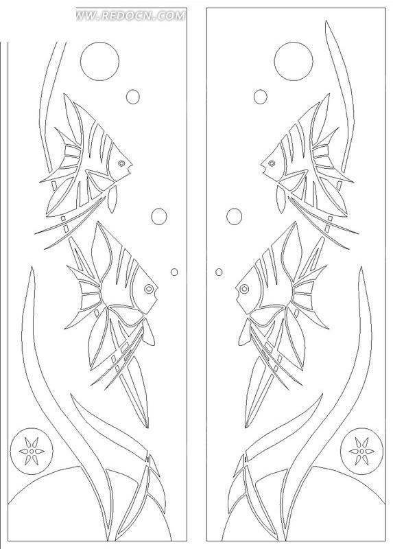 手绘海藻神仙鱼