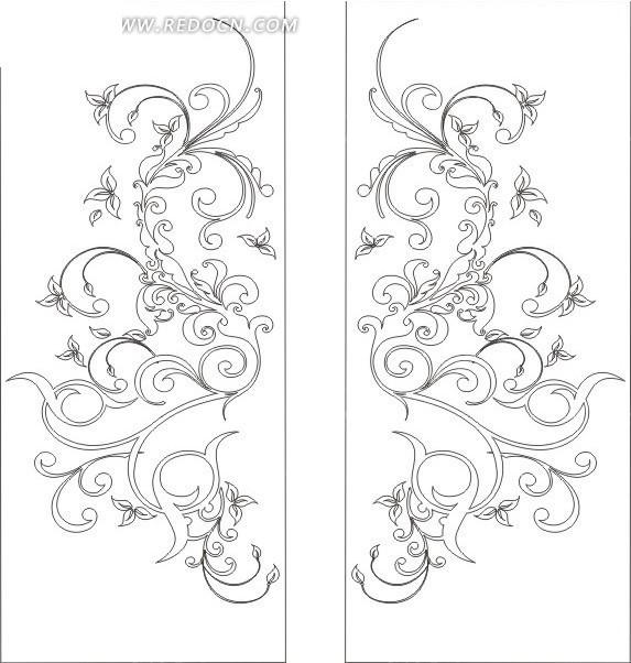 长方形里的对称花纹线描图