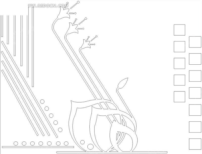 桃形曲线喇叭花圆形方形几何线组合移门图图片图片
