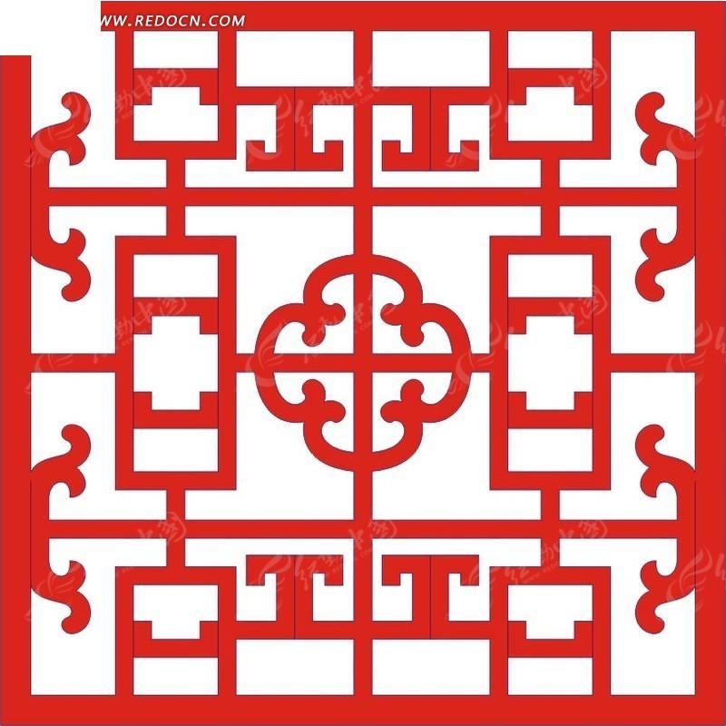红色 中式 图案 镂空花纹 镂空雕花 花纹隔断 窗格 装饰花纹 时尚花纹图片