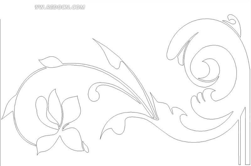 花茎弯曲的植物线描图