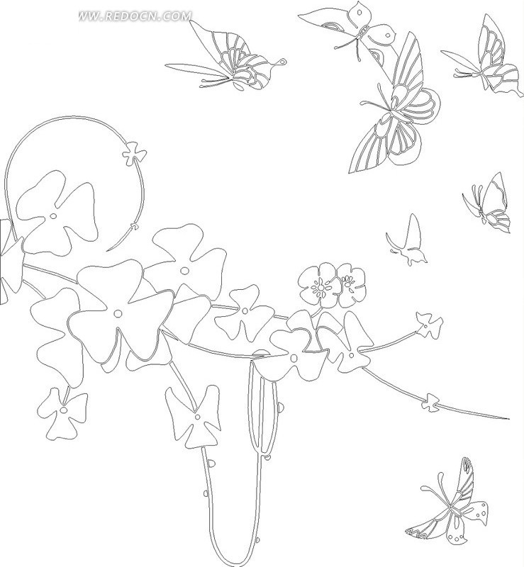 线条花朵与蝴蝶