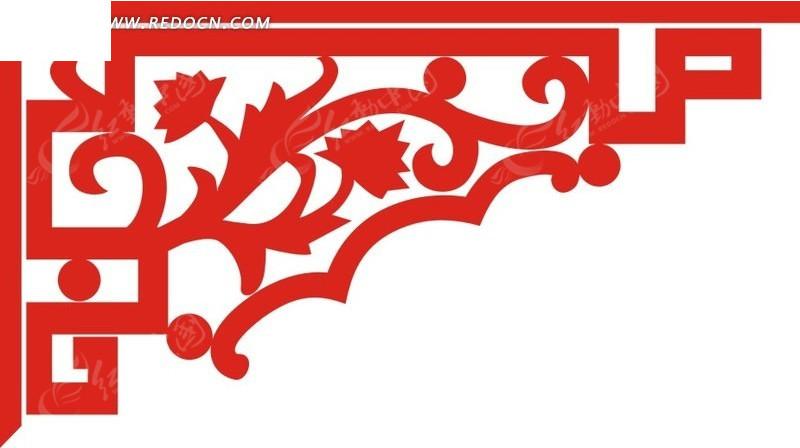 免费素材 矢量素材 花纹边框 花纹花边 红色枫叶卷纹装饰边角  请您