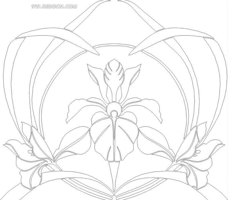 免费素材 矢量素材 花纹边框 其他 对称的兰花叶子和花朵线描图  请您