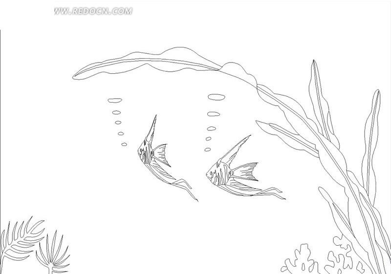 燕尾鱼与水草线稿设计模版hpgl素材免费下载 编号1665971 红动网