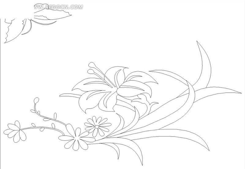 花朵盛开 植物 叶子 花苞 蝴蝶 线描图  矢量素材