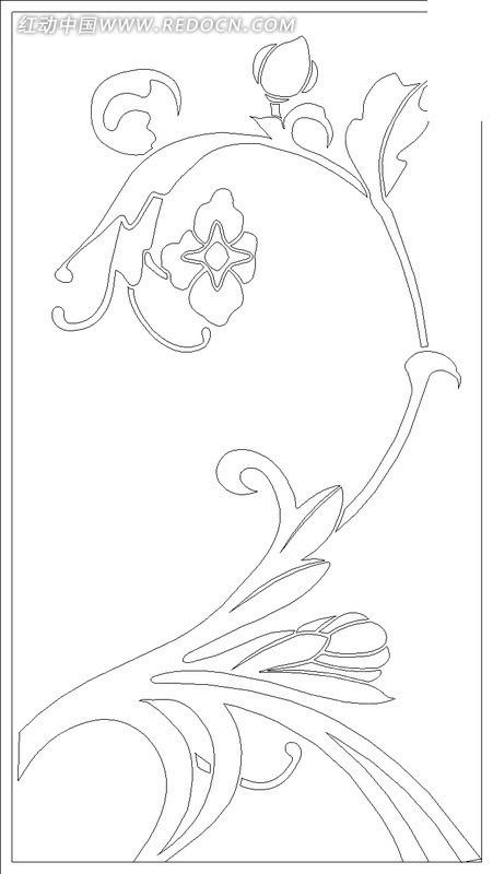 手绘花枝矢量图