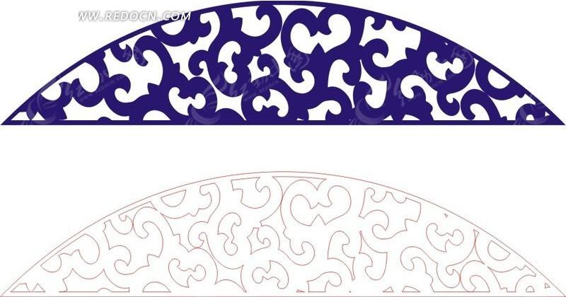 拱形的花纹 蓝色花纹 镂空花纹 手绘 线描图 花纹 花纹素材 花边 花边