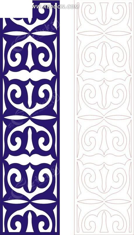 宝蓝色中式二方连续图案窗格镂空花纹设计下载 1666433图片