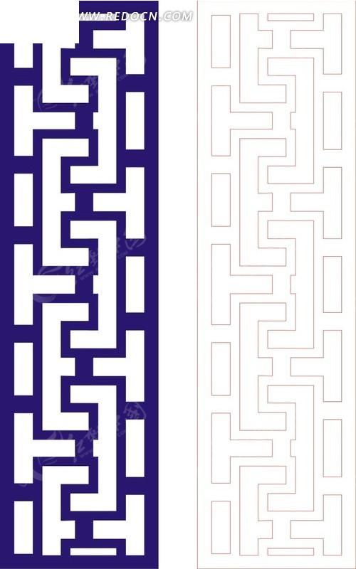 宝蓝色中式回折纹图案窗格镂空花纹图片