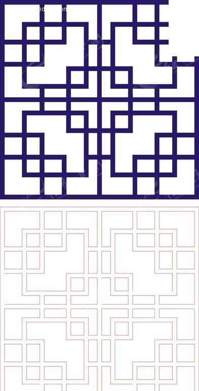 正方形宝蓝色中式回折纹图案窗格镂空花纹