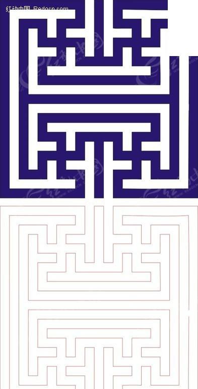 矢量素材 花纹边框 其他 正方形宝蓝色中式万字纹图案窗格镂空花纹