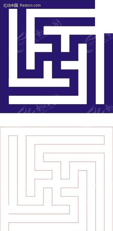 方形宝蓝色中式万字纹图案窗格镂空花纹CDR素材免费下载 编号
