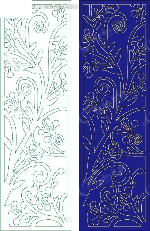 蓝色西式图案镂空花纹图片