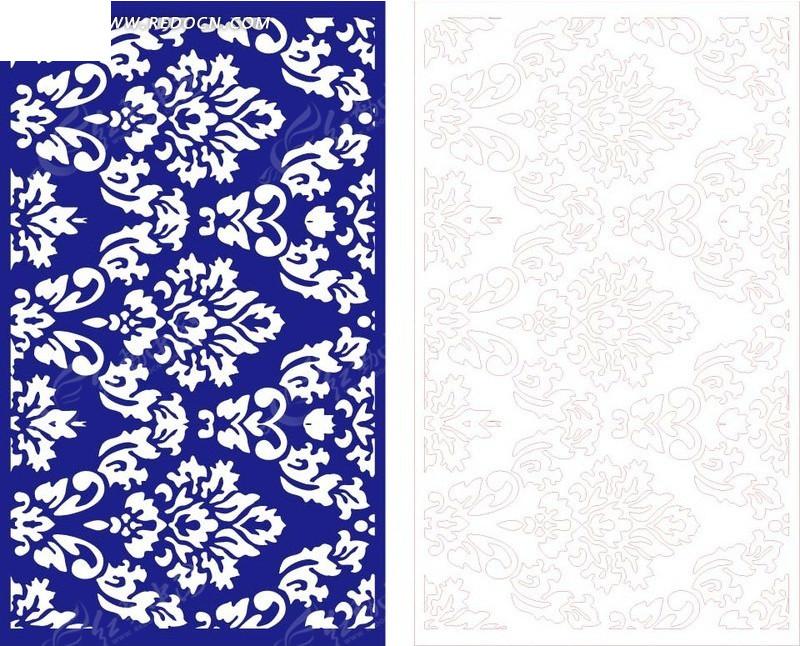 长方形 蓝色花纹 植物花纹 线描图 矢量图 花纹 花纹素材 花边 花边