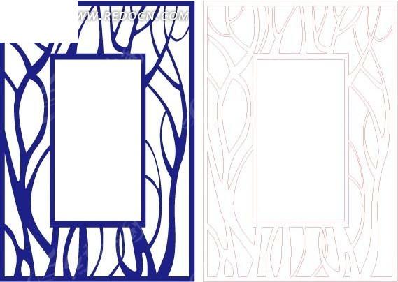 免费素材 矢量素材 花纹边框 花纹花边 > 蓝色西式图案镂空花纹  免费