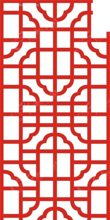 红色中式图案镂空花纹