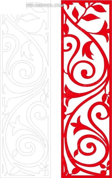红色 欧式 图案 镂空花纹 镂空雕花 花纹隔断 窗格 装饰花纹 时尚花纹