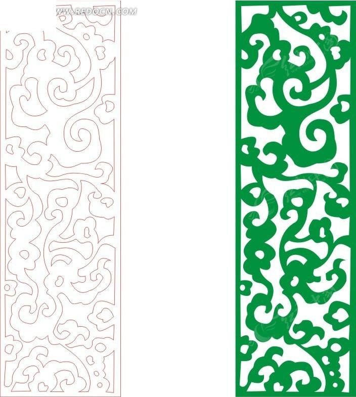 绿色欧式图案镂空花纹矢量图cdr免费下载_花纹花边素材