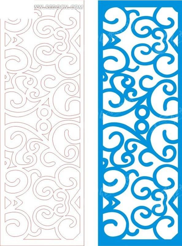 蓝色欧式图案镂空花纹