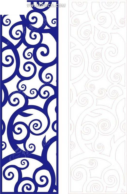 手绘长方形里的蓝色花纹eps免费下载_花纹花边素材