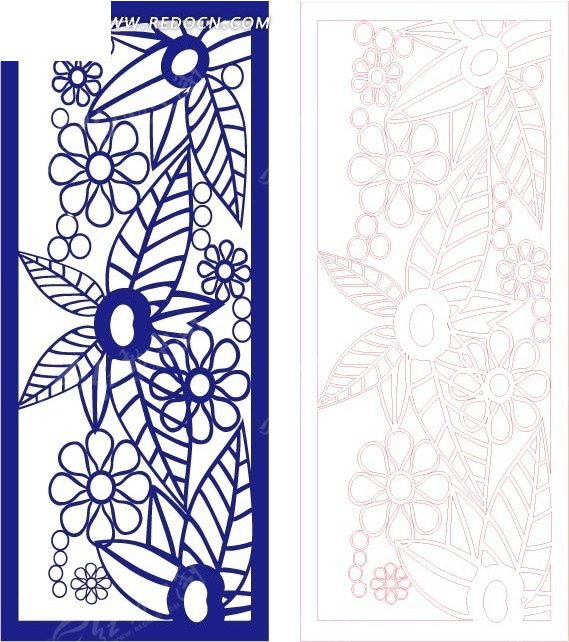 花边房屋叶子花边镂空雕刻地块装饰花纹花纹素材花朵蓝色素材瘦长蓝色矢量v花边图片