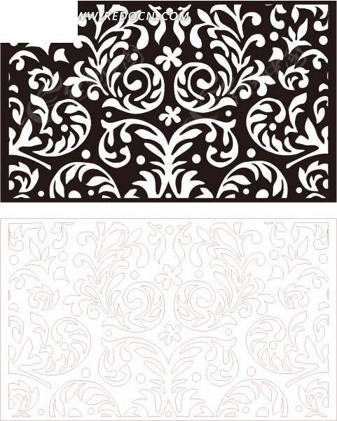 黑色欧式图案镂空花纹矢量图eps免费下载_花纹花边素材