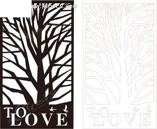 黑色枯树镂空图案矢量图eps素材免费下载(编号1667615
