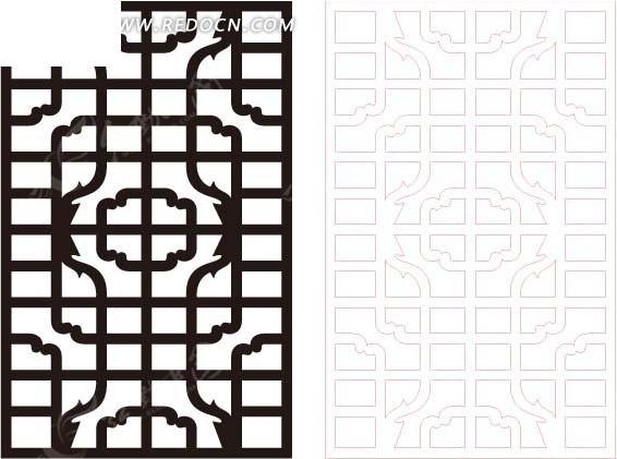 素材下载 矢量素材 花纹边框 花纹花边 > 黑色复古图案中式窗格
