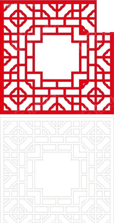 红色艺术花格图案中式窗格
