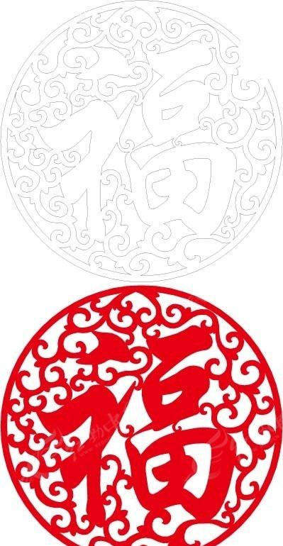 免费素材 矢量素材 花纹边框 花纹花边 红色福字镂空窗格  请您分享图片