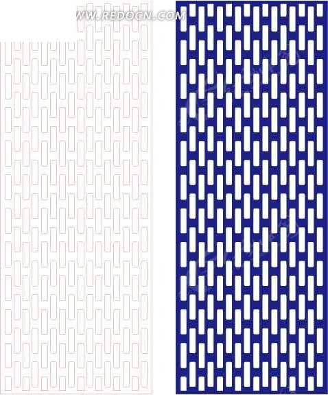 宝蓝色四方连续图案窗格镂空花纹图片