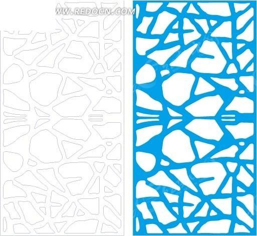 蓝色中式石块拼合形图案窗格镂空花纹图片