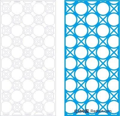 蓝色中式圆圈方格图案窗格镂空花纹