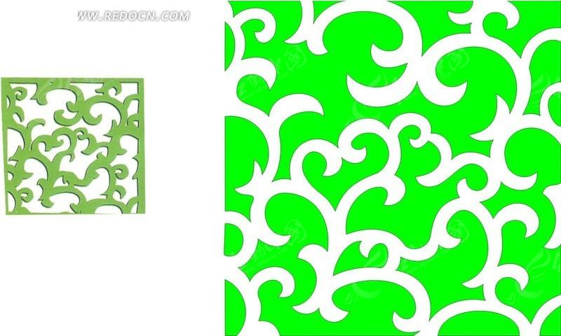 正方形卷曲枝叶镂空中式窗棂花纹图片