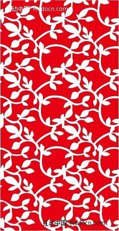 手绘红色背景上的白色叶子图案