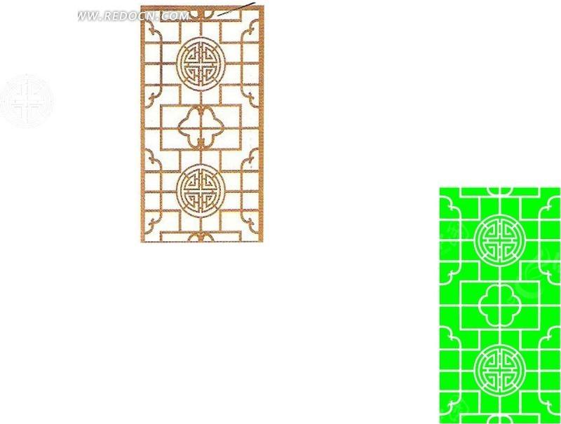 方圆镂空中式窗格移门图