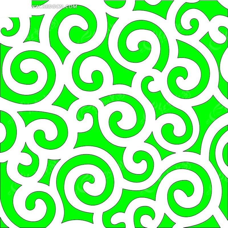 免费素材 矢量素材 花纹边框 花纹花边 绿色云纹镂空中式窗格图案  请