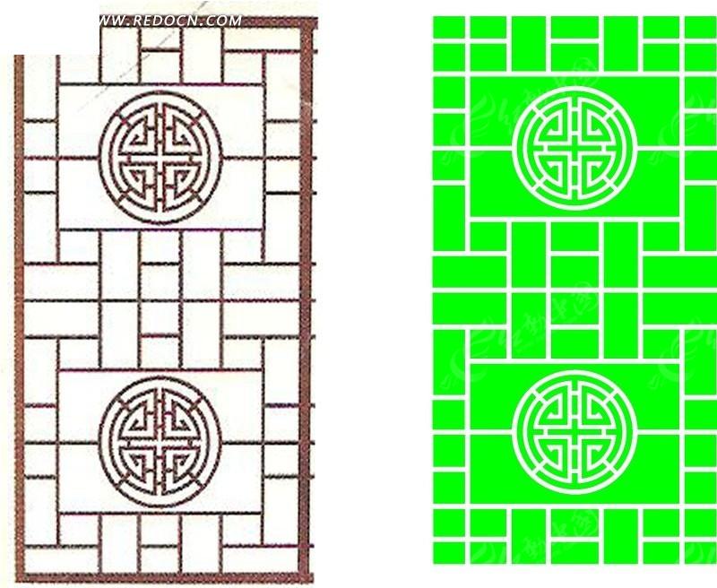 圆形/三角/方形组成的中式镂空花纹图片