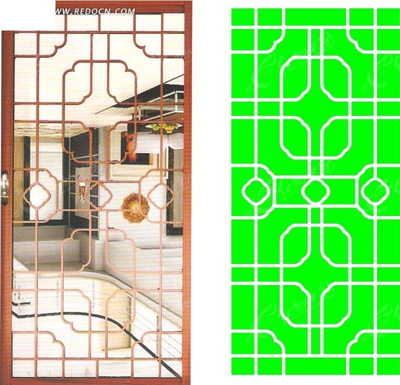 中式圆角方形组合镂空花纹
