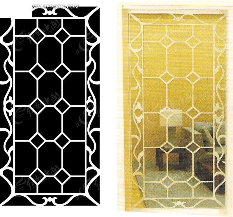 欧式花边方格菱形花纹玻璃门图