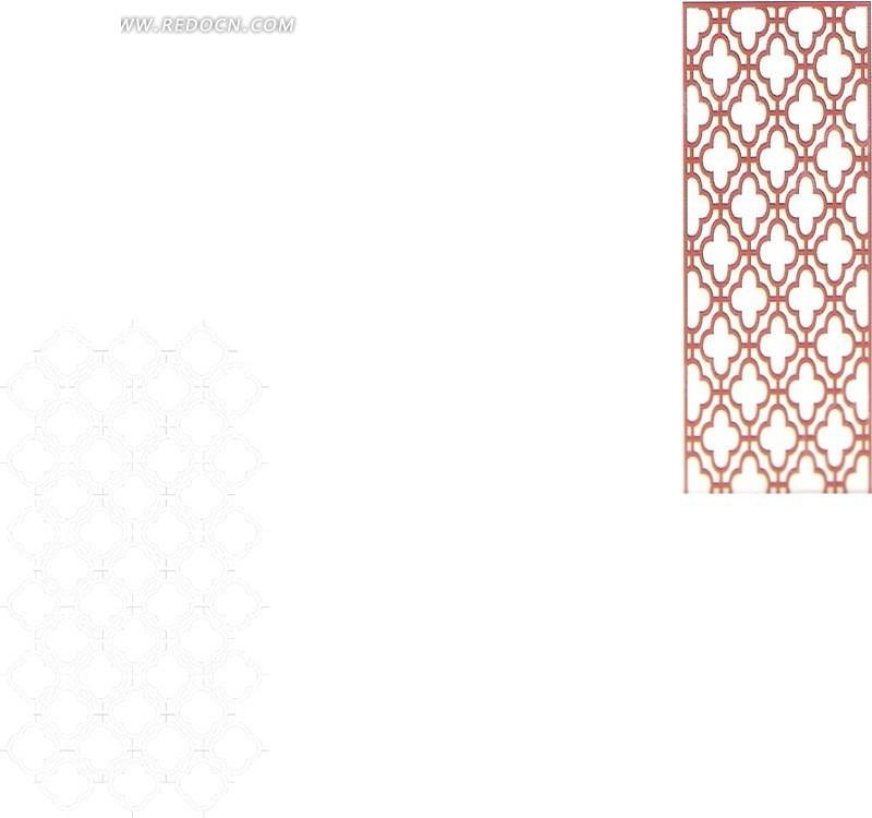 十字菱形镂空中式窗格图案图片