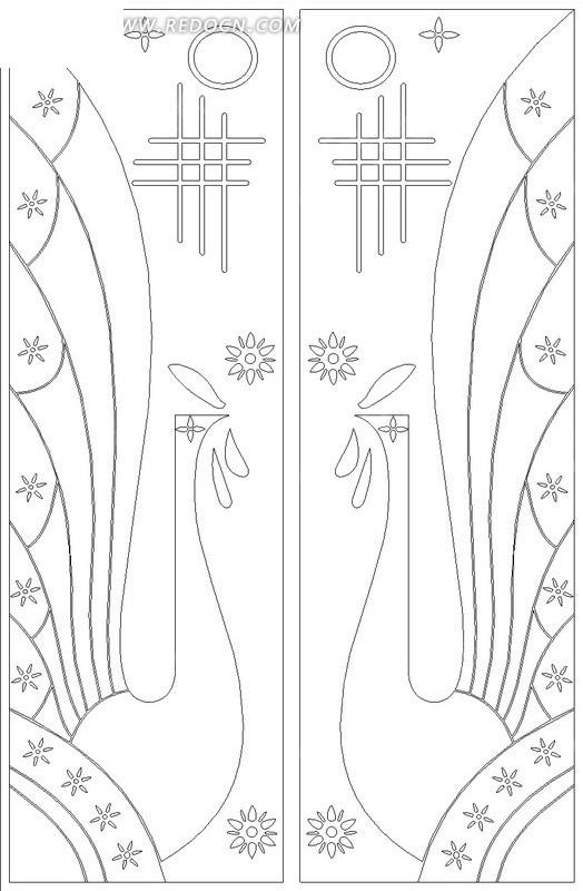 孔雀 花纹 装饰 矢量素材 黑白 花纹素材 花边 花边素材